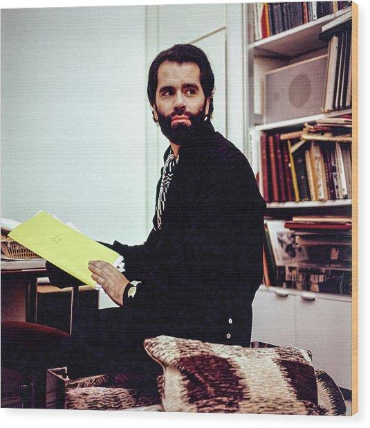 Portrait Of Karl Lagerfeld Wood Print