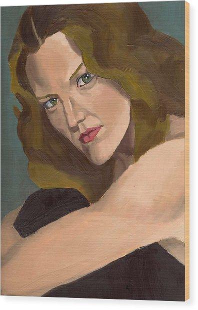 Portrait Of Kathy Arvidson Wood Print by Stephen Panoushek
