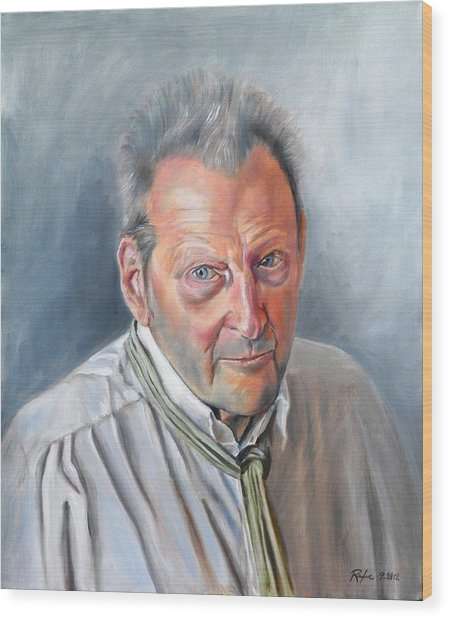 Portrait Of Lucian Freud Wood Print