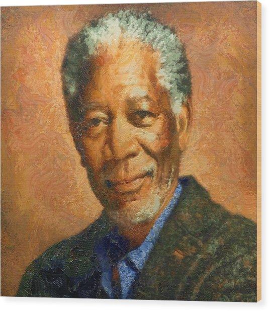 Portrait Of Morgan Freeman Wood Print