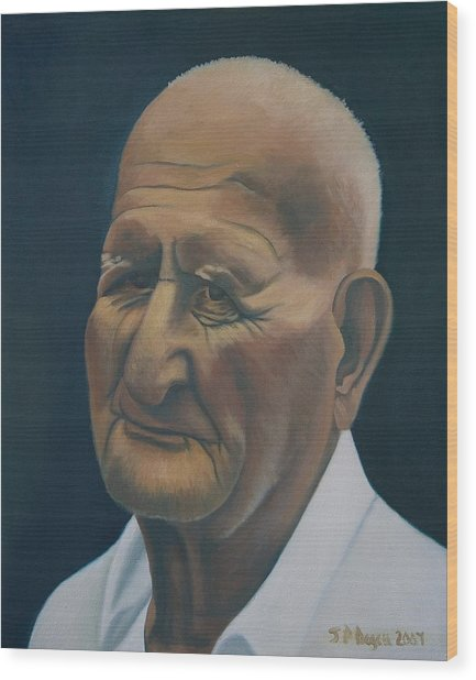 Portrait Of Old Man In St. Louis Wood Print by Stephen Degan