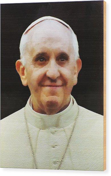 Portrait Of Pope Francis I Wood Print