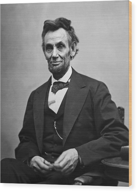 Portrait Of President Abraham Lincoln Wood Print