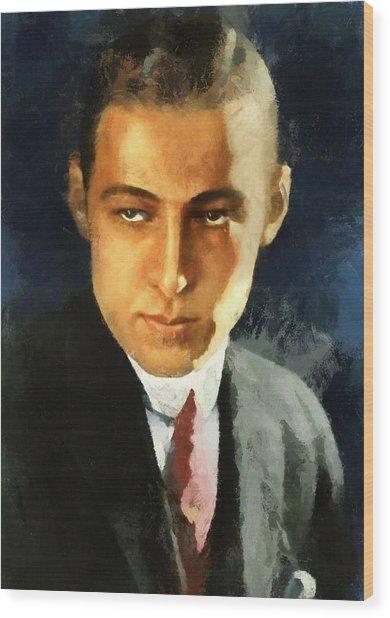 Portrait Of Rudolph Valentino Wood Print