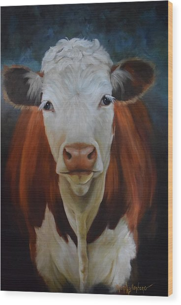 Portrait Of Sally The Cow Wood Print