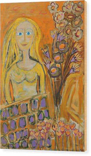 Portrait Of Sunshine Girl Wood Print by Maggis Art