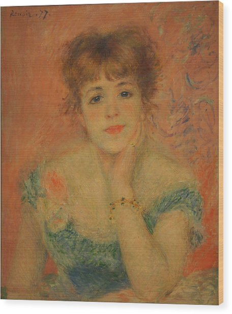 Portrait Of The Actress Jeanne Samary Wood Print by Pierre Auguste Renoir