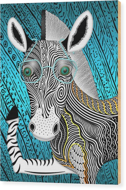 Portrait Of The Artist As A Young Zebra Wood Print