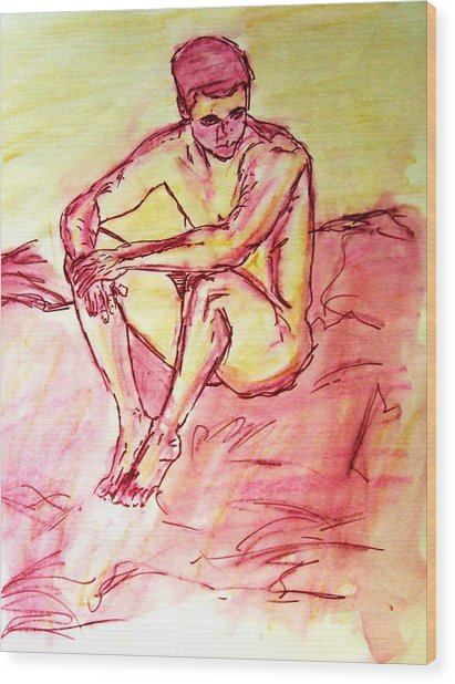 Portrait Of Thinking Young Male Seated Figure Nude Watercolor Painting In Purple Yellow Sketchy Wood Print