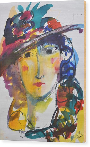 Portrait Of Woman With Flower Hat Wood Print