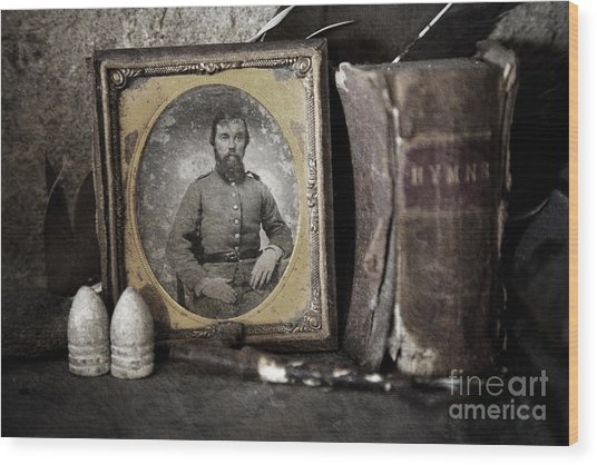 Portrait On The Mantle Wood Print