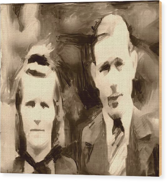 Portrait Underpainting In Umber And Browns Old Couple Wood Print by MendyZ