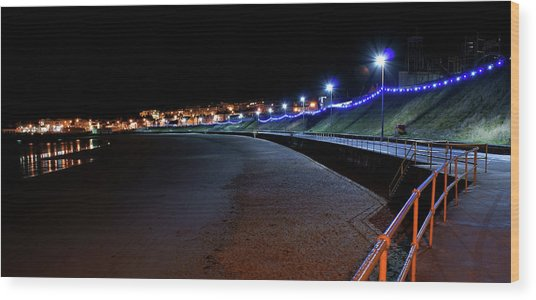 Portrush Seafront At Night Wood Print