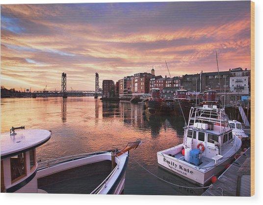 Portsmouth Harbor Brilliant Sunrise Wood Print