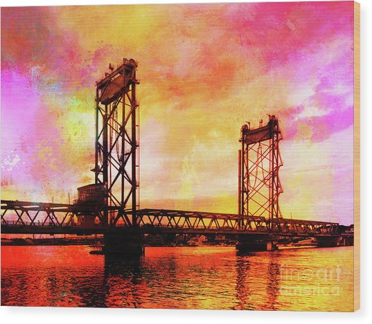 Portsmouth Memorial Bridge Abstract At Sunset Wood Print
