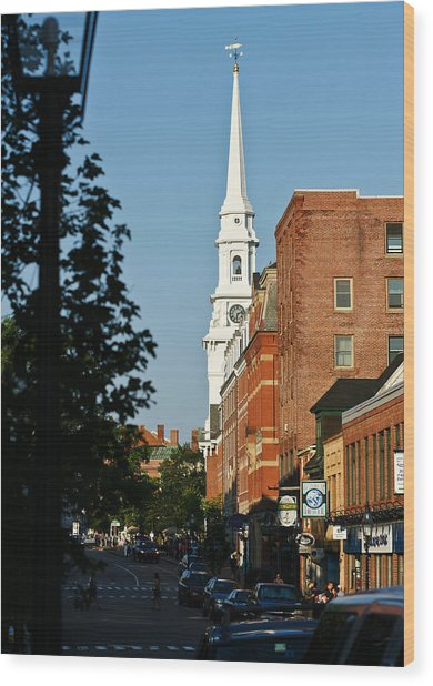 Portsmouth Nh Downtown Wood Print