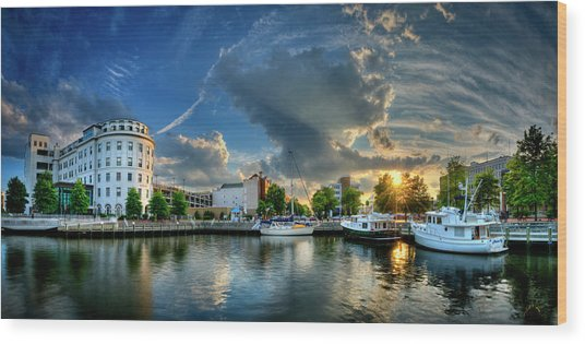 Portsmouth Sunset Wood Print by Williams-Cairns Photography LLC