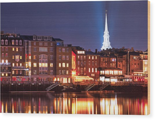 Portsmouth Waterfront At Night Wood Print