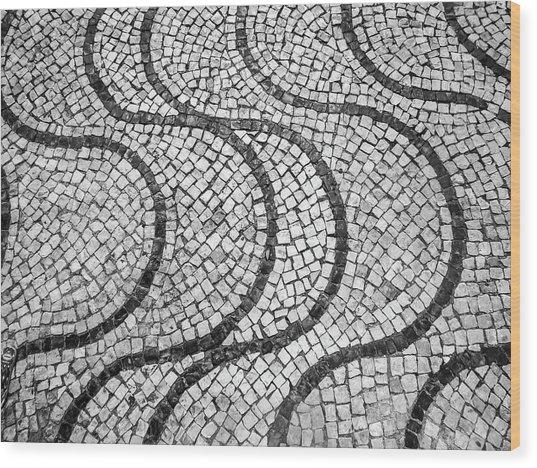 Portuguese Pavement Patterns In Cascais Wood Print