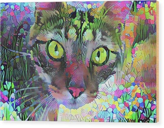 Posie The Tabby Cat Wood Print