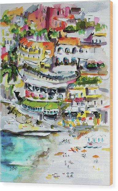 Positano Beach Amalfi Coast Holiday Wood Print