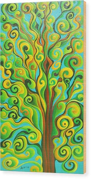Positronic Spirit Tree Wood Print