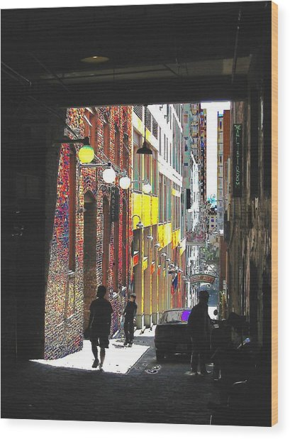 Post Alley Wood Print