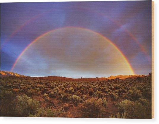 Post Tstorm Rainbow Wood Print by SB Sullivan