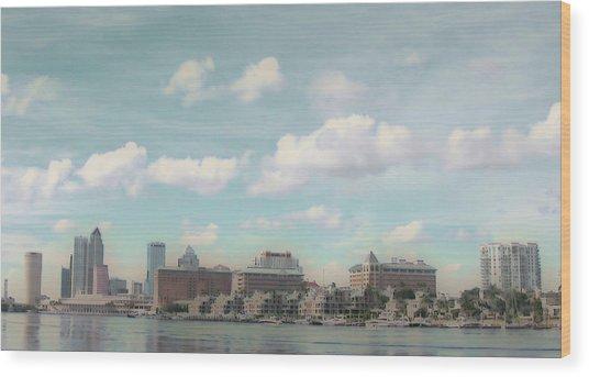 Postcard Look Of Tampa Skyline Wood Print by Rebecca Sauceda