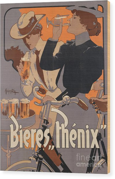 Poster Advertising Phenix Beer Wood Print