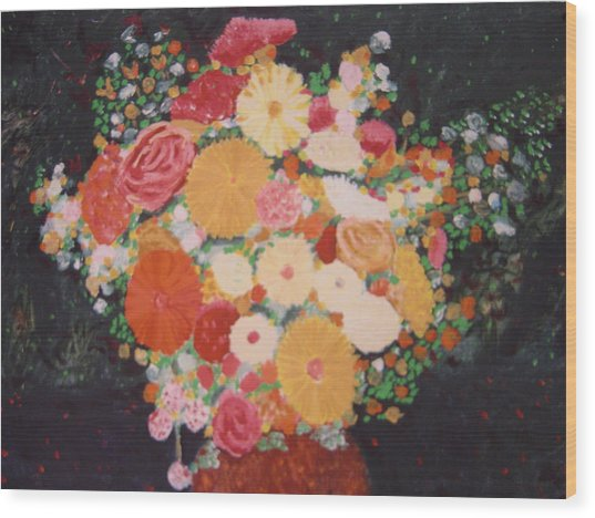 Pot With Flowers Wood Print by Biagio Civale