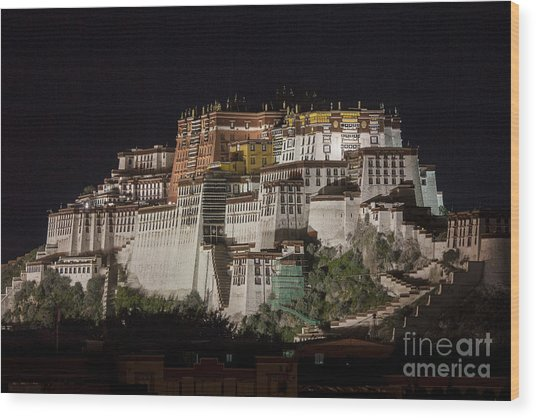 Potala Palace At Night Wood Print