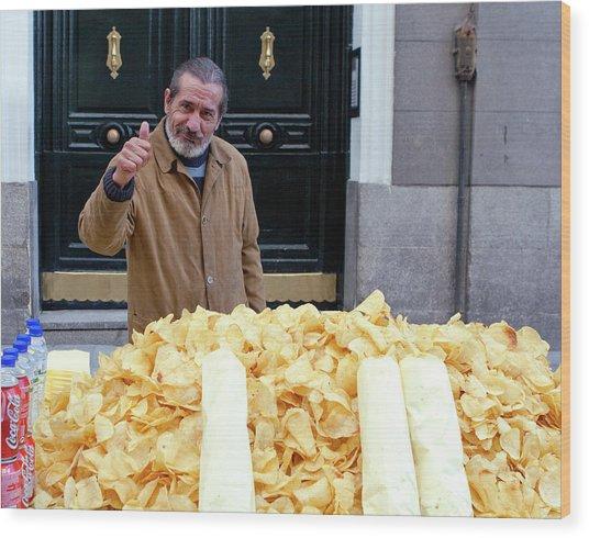 Potato Chip Man Wood Print