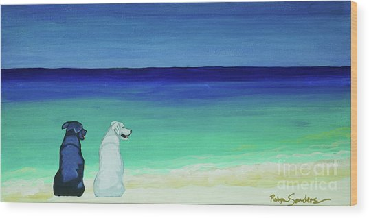 Lab Potcake Dogs On The Beach Wood Print