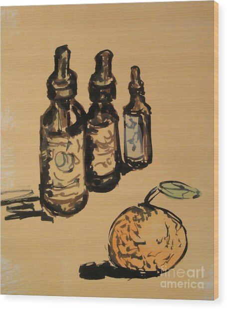 Wood Print featuring the painting Potions by Maria Langgle