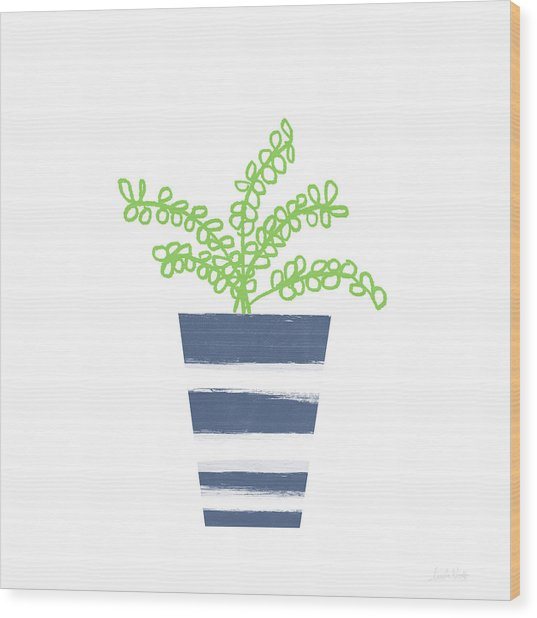Potted Plant 1- Art By Linda Woods Wood Print