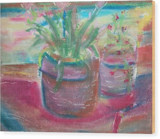 Potted Plants Wood Print by Bob Smith