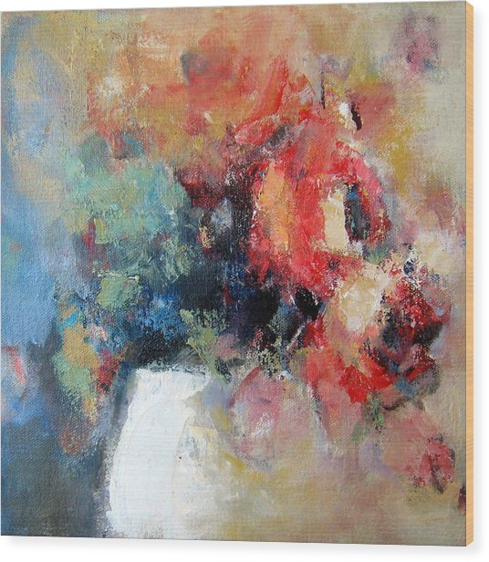 Potted Roses 1 Wood Print by Sharleen Boaden
