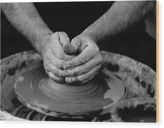 Potters Wheel Creation Wood Print