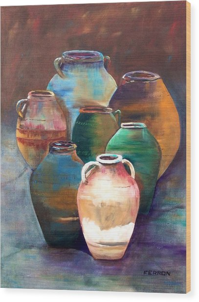 Wood Print featuring the painting Pottery Jars by Patti Ferron
