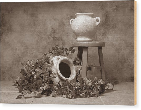 Pottery With Ivy I Wood Print