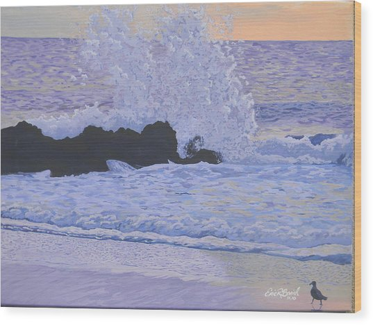 Pounding Surf Wood Print by Eric Barich