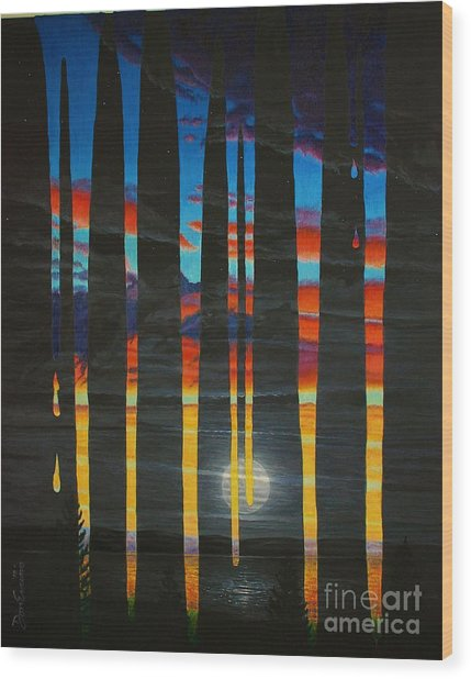 Poured Sunset On A Moonlit Night Wood Print by Don Evans