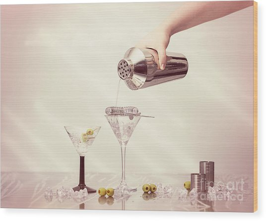 Pouring A Martini Wood Print