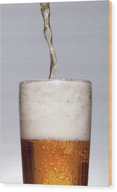 Pouring Beer Wood Print