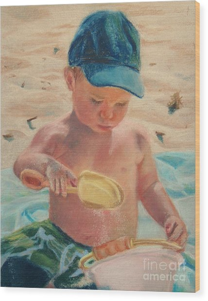 Pouring Sand Wood Print by Lisa Pope