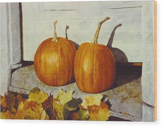 Povec's Pumpkins Wood Print