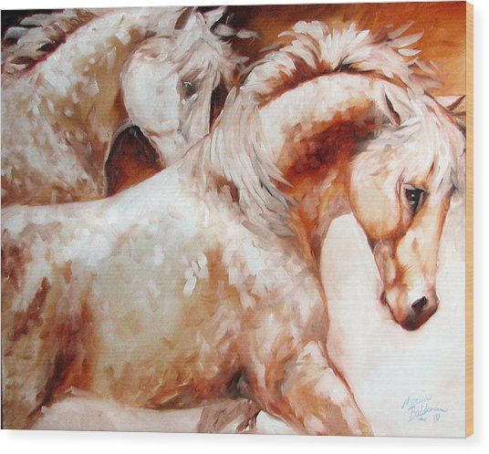 Power By Two Equine Original Wood Print by Marcia Baldwin