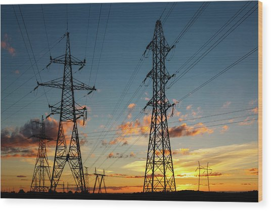 Power Cables Wood Print