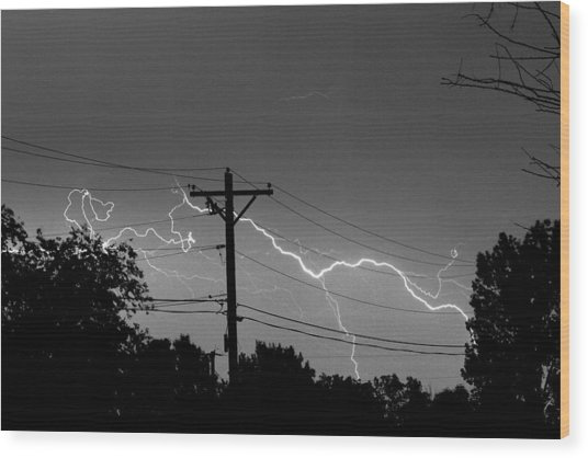 Power Lines Bw Fine Art Photo Print Wood Print